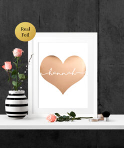 Personalised Heart Shape Real Foil Typography Print