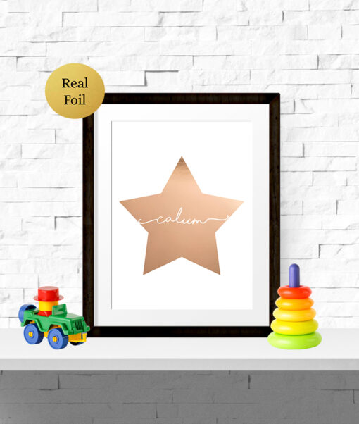 Personalised Star Shape Real Foil Typography Print