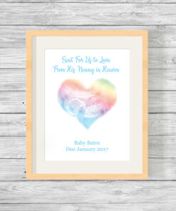 Personalised Baby Scan Heart Watercolour Print
