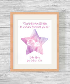 Personalised Baby Scan Star Watercolour Print