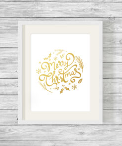 Merry Christmas Wreath Real Foil Typography Print