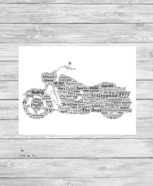 Personalised Harley Davidson Word Art Print
