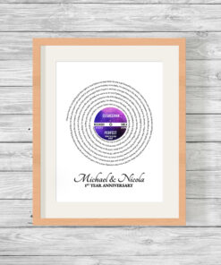 Personalised LP Song Lyrics Word Art Print