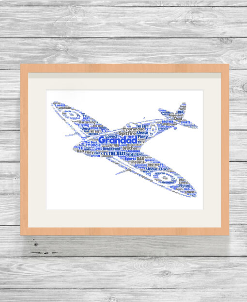 Bespoke Personalised Spitfire Word Art Print