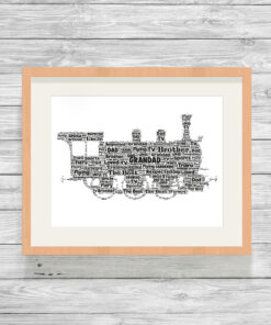 Personalised Steam Train Word Art Print