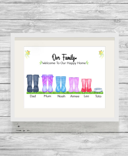 Personalised Family Wellies Watercolour Print