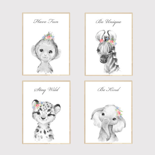 Personalised Safari Animals Girls Bedroom Quote Prints