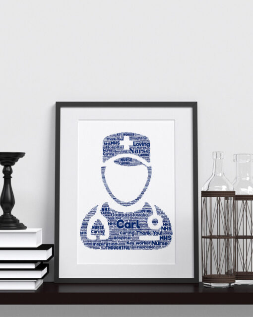 Bespoke Personalised Male Nurse Word Art Print