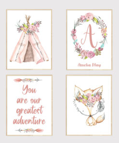 Personalised Set of Boho Girls Bedroom Nursery Prints