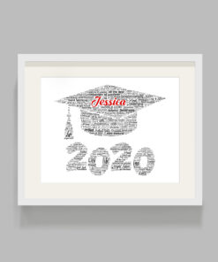 Personalised Graduation Motarboard Word Art Print