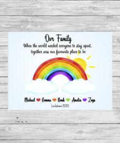 Personalised Rainbow Lockdown Picture Print