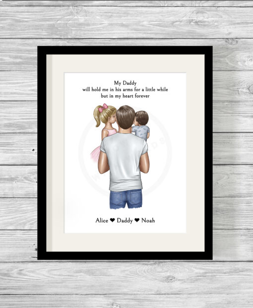 Personalised Father & Son or Daughter Picture Print