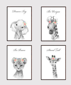 Safari Jungle Animal Girl's Instant Digital Download Print