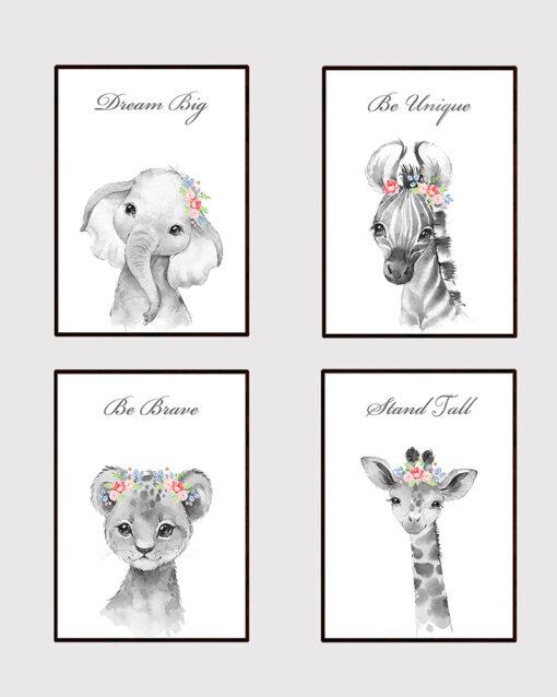 Safari Jungle Animal Girl's Instant Digital Download Print