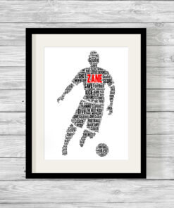Personalised Male Footballer Word Art Print