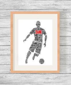 Personalised Male Footballer Word Art Print