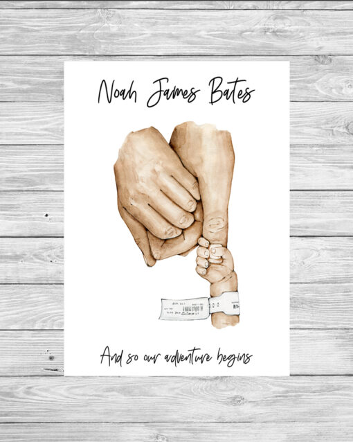 Personalised Family Holding Hands Word Art Print