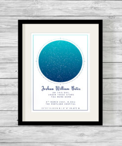Personalised Night Sky Star Map Day You Were Born Print