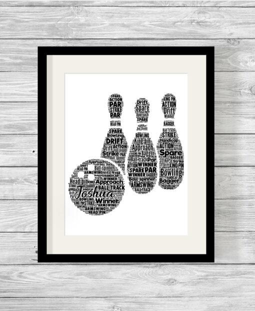 Personalised Ten Pin Bowling Word Art Print