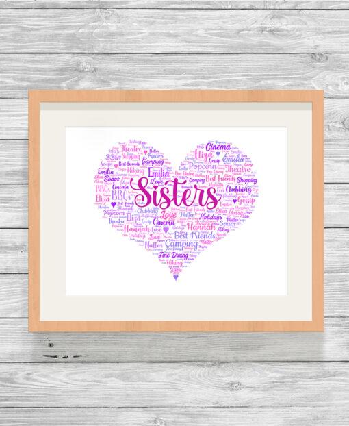 Personalised Sisters Heart Word Art Print