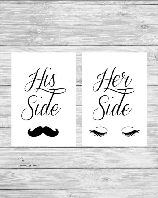 Personalised Set of His & Hers Side Couple Picture Prints