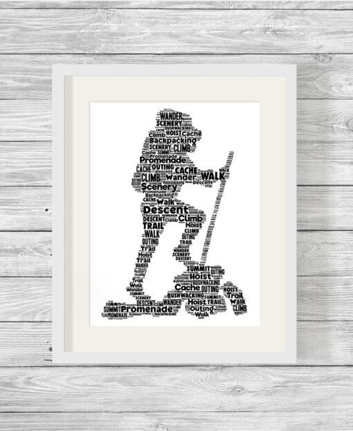 Hiker Personalised Word Art Picture Print