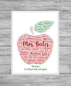 Teacher Red Apple Personalised Word Art Print