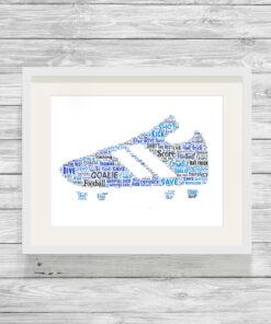 Football Boot Personalised Word Art Print