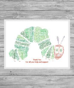 Teacher Caterpillar Personalised Word Art Print