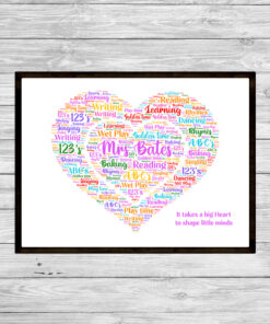 Teacher Heart Personalised Word Art Print