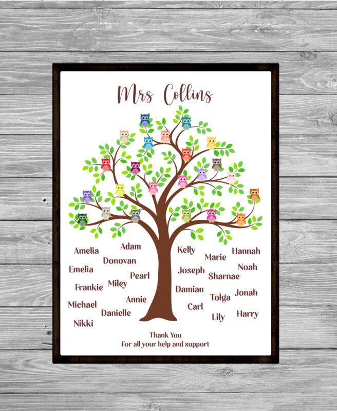 Personalised Tree Teacher Thank You Word Art