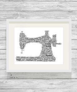 Personalised Sewing Machine Word Art Print