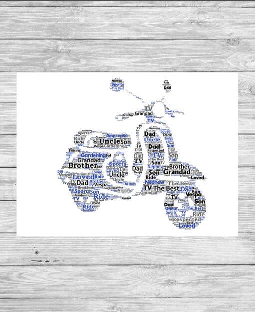 Personalised Vespa Word Art Print