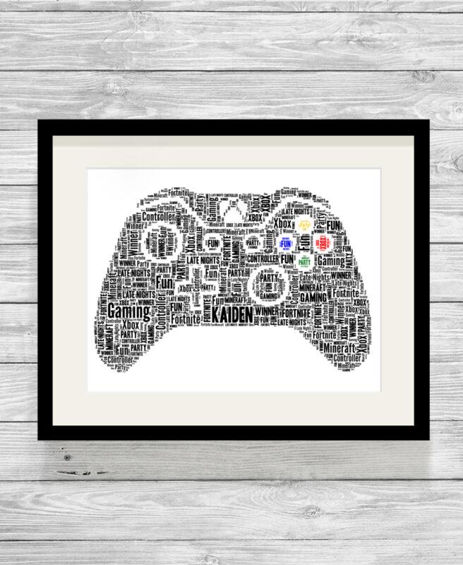 Gaming Controller Personalised X Box Word Art Print